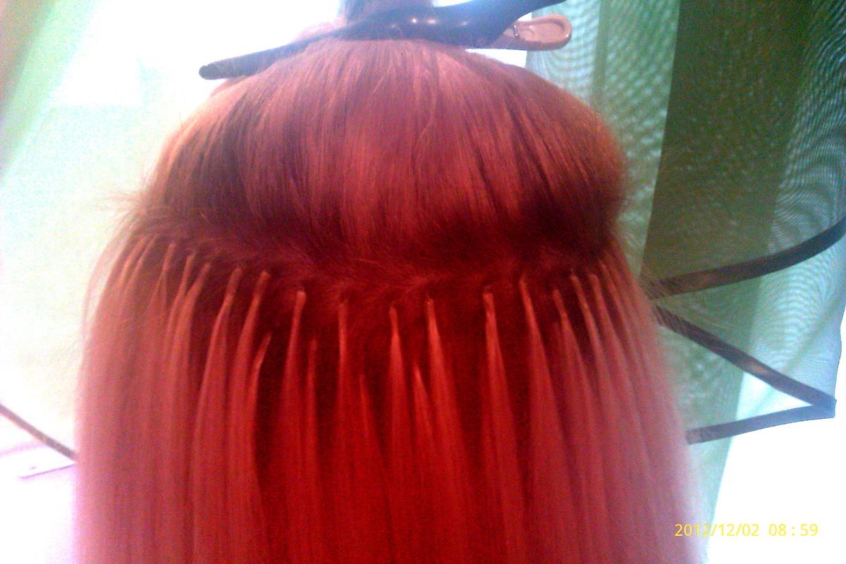 Фото нарощенных волос светлых